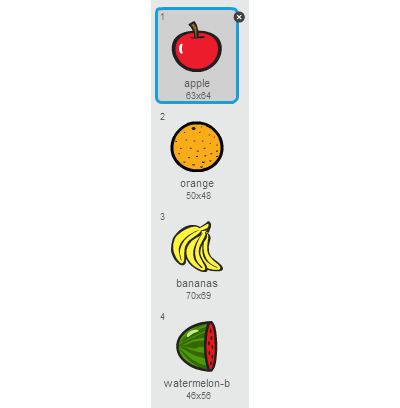 We will have just 1 fruit sprite but it will have 4 different costumes